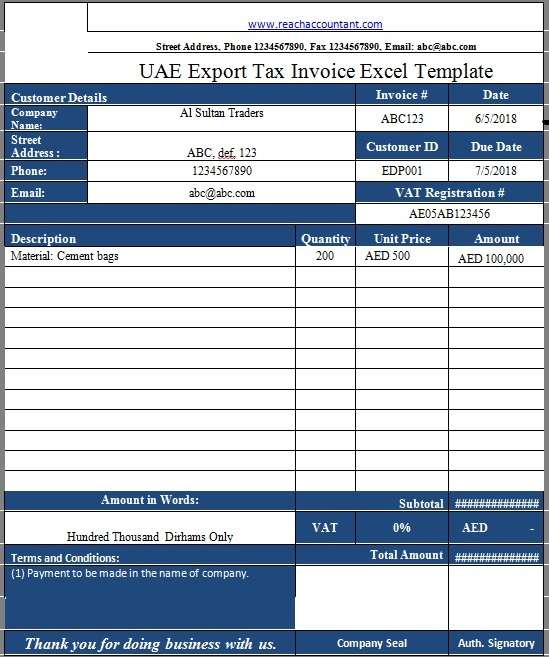 How To Raise Export Invoice In Uae Free Excel And Word Download